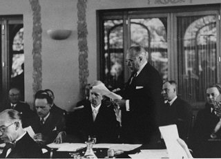 United States delegate Myron Taylor delivers a speech at the Evian Conference on Jewish refugees from Nazi Germany.