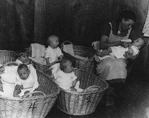 German propaganda photograph of a kindergarten for...