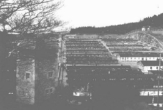 View of the Flossenbürg concentration camp after liberation of the camp by US forces.