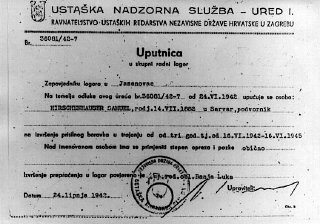 A referral slip ordering Samuel Hirschenhauser to Jasenovac.