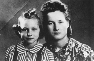 Stefania Podgorska (right), pictured here with her younger sister Helena (left), helped Jews survive in German-occupied Poland. She supplied food to Jews in the Przemysl ghetto. Following the German destruction of the ghetto in 1943, she saved 13 Jews by hiding them in her attic. Przemysl, Poland, 1944.