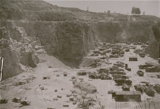 A view of the quarry at the Mauthausen concentration camp, where prisoners were subjected to forced labor.