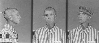 Gambar identifikasi tahanan Yahudi di kamp Auschwit...