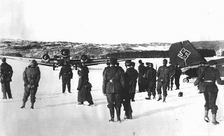 German troops and bombers on an improvised airfield...