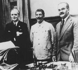 Josef Stalin at signing of nonaggression pact, August...
