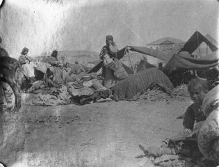 A group of Armenian refugees in makeshift tents.