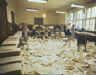 View of the mimeograph room in the Palace of Justice...