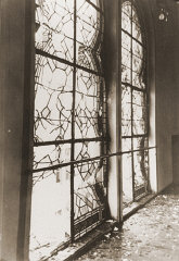 The shattered stained glass windows of the Zerrennerstrasse...