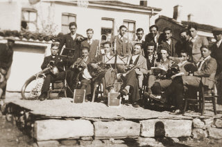A group of Macedonian Jewish youth, members of a band...