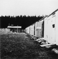 View of barracks in the Lety internment camp.