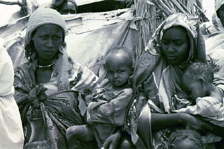 Refugees in a camp in eastern Chad for refugees from...