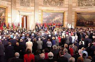 Escena durante la ceremonia de los Días del Recuerdo...