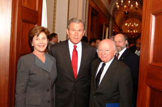 Laura Bush, George Bush, and Benjamin Meed during the...