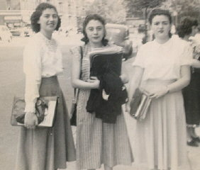 Regina (left) with two friends at Thomas Jefferson...