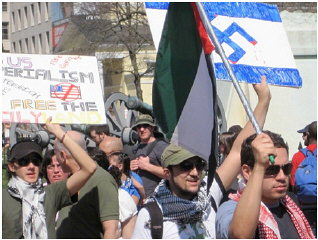 Protesters at an anti-Israel rally.
