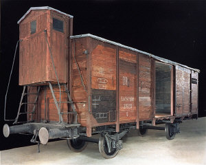 View of the railcar on display in the permanent exhibition...
