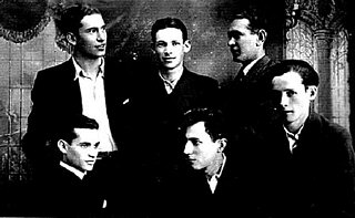 Group portrait of six young men in interwar Poland. Pictured standing from left to right are: Moishe Krol, Moishe Rafilovitch, and an unidentified man. Seated from left to right are: Itzrik Rosenblat, Anschul Goldstein, and an unidentified man. Krol, Rafilovitch, and Rosenblat were all Jewish tailors forced to remain in Radom, Poland, as laborers after the SS deported most of the population to Treblinka in August 1942.