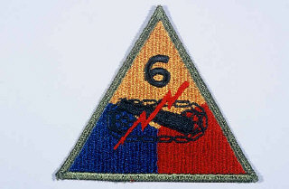 "Insignia of the 6th Armored Division. ""Super Sixth"" became the nickname of the 6th Armored Division while the division was training in the United States, apparently to symbolize the division's spirit."