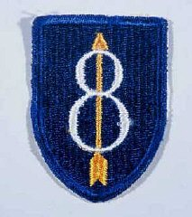 "Insignia of the 8th Infantry Division. The 8th Infantry Division was known as both the ""Golden Arrow"" and ""Pathfinder"" division during World War II. Both nicknames originated from the division's insignia, which includes a gold arrow to represent the nineteenth century explorer of California, John Fremont. The division was formed in California in 1918."