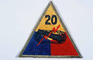 "Insignia of the 20th Armored Division. Although no nickname is commonly associated with the 20th,  ""Armoraiders"" may have been occasionally in use during World War II."