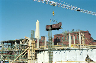 Installation of the railcar at the construction site...