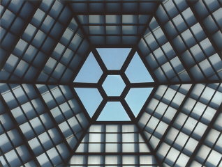 View of the six-sided skylight in the Hall of Remembrance at the United States Holocaust Memorial Museum. Washington, DC, January 2003.