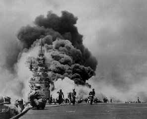 US sailors struggle to contain damage from Kamikaze...