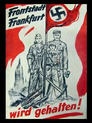 This poster from 1945 shows an embattled German family...