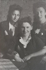 """The Three Musketeers."" Three school friends, in the Lodz ghetto. Left: Lola Tenenbaum Rapoport, who survived with her husband. Center: Niusia Friedman, who was killed in Auschwitz. Lola sent this photo to Blanka from Australia. Blanka (right) says ""It's my only memento of the ghetto."""
