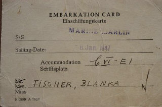 Blanka's embarkation card for the SS Marine Marlin, with a sailing date in 1947.