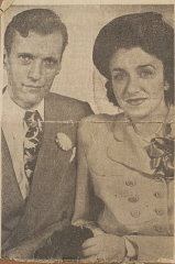 "Wedding photo of Blanka and her husband Harry in an Oregon newspaper. Blanka has no other photo of their wedding. ""The war taught me that things are not important,"" she says."