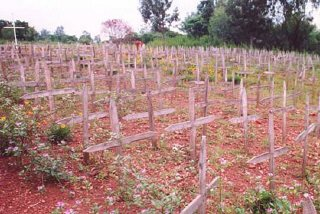 A cemetery in Nyanza-Rebero, Rwanda, where genocide victims are buried.