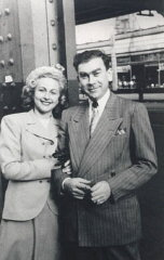 1949 photograph of Amalie and Norman in Brooklyn, New York, two years after they came to the United States.