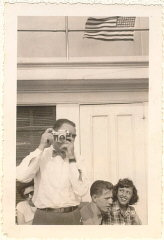 Norman (with camera) in the United States. August 1948.