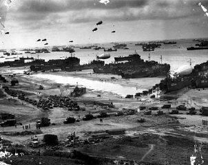 The Normandy beach as it appeared after D-Day.