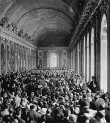 Allied delegates in the Hall of Mirrors at Versailles...