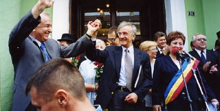 Elie Wiesel with President Ion Iliescu in Sighet following...