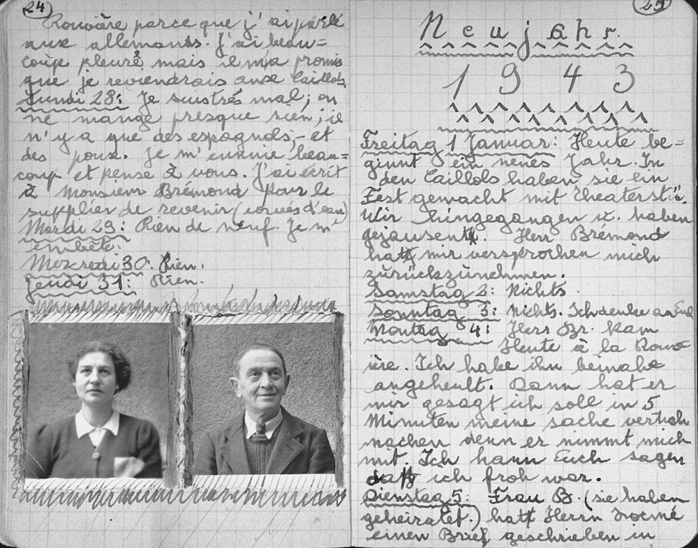 One page of a journal kept by Klaus Peter (later Pierre) Feigl, an Austrian/German Jewish refugee child living in France during World War II.