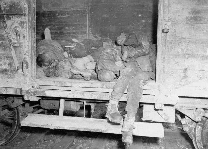 Corpses lie in one of the open railcars of the Dachau death train. The Dachau death train consisted of nearly forty cars containing the bodies of between two and three thousand prisoners transported to Dachau in the last days of the war. <i>US Holocaust Memorial Museum, courtesy of unknown source</i>