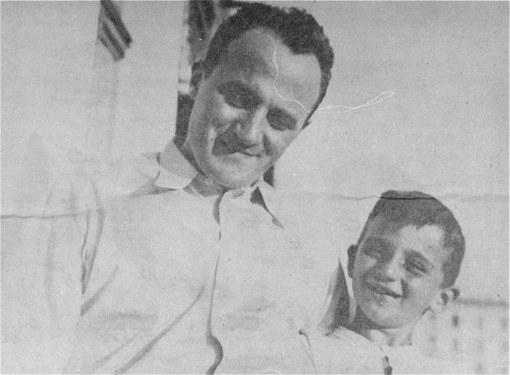 Emanuel Ringelblum, the founder and guiding spirit of the Oneg Shabbat archive, with his son, Uri, in Poland, 1938. In 1944, Ringelblum and his family were discovered in hiding in Warsaw and killed. <i>YIVO Institute for Jewish Research, New York</i>