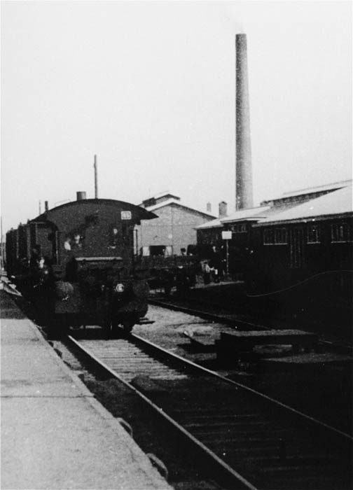 View of the train station in Westerbork. Westerbork was a transit camp for Jews who were being deported from the Netherlands during World War II. 1942–April 1944.