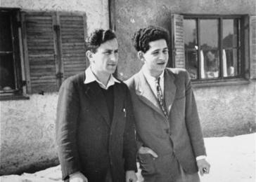 Two displaced persons (David Bajer on the left) at the Foehrenwald displaced persons camp.
