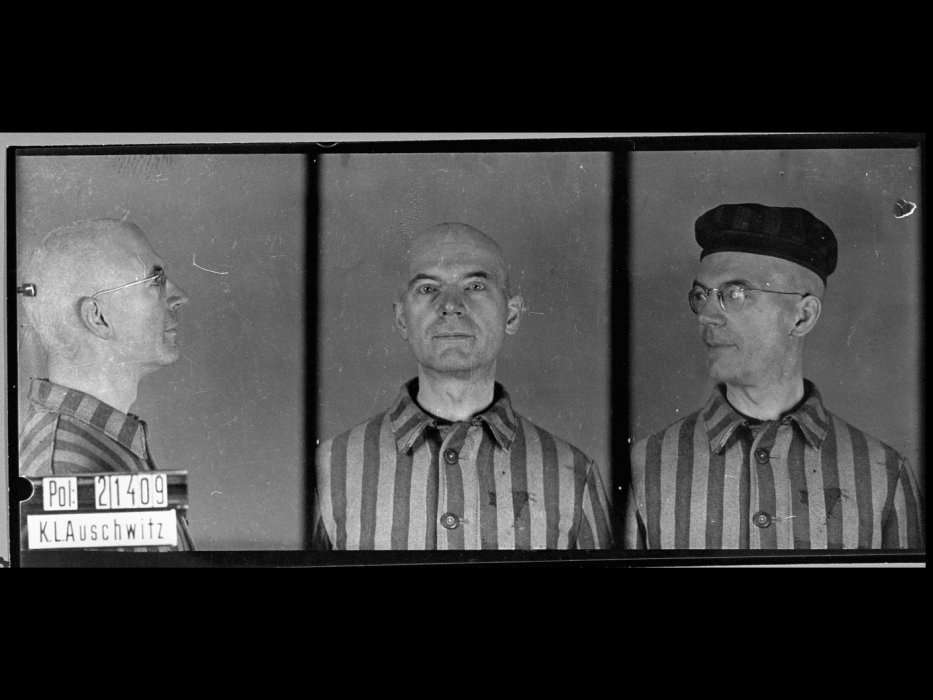 Mug shot of homosexual Auschwitz prisoner: Walter Peters, medical doctor, born Oct. 1, 1890, in Nakel, arrived to Auschwitz Oct. 10, 1941, and died there Oct. 15, 1941.