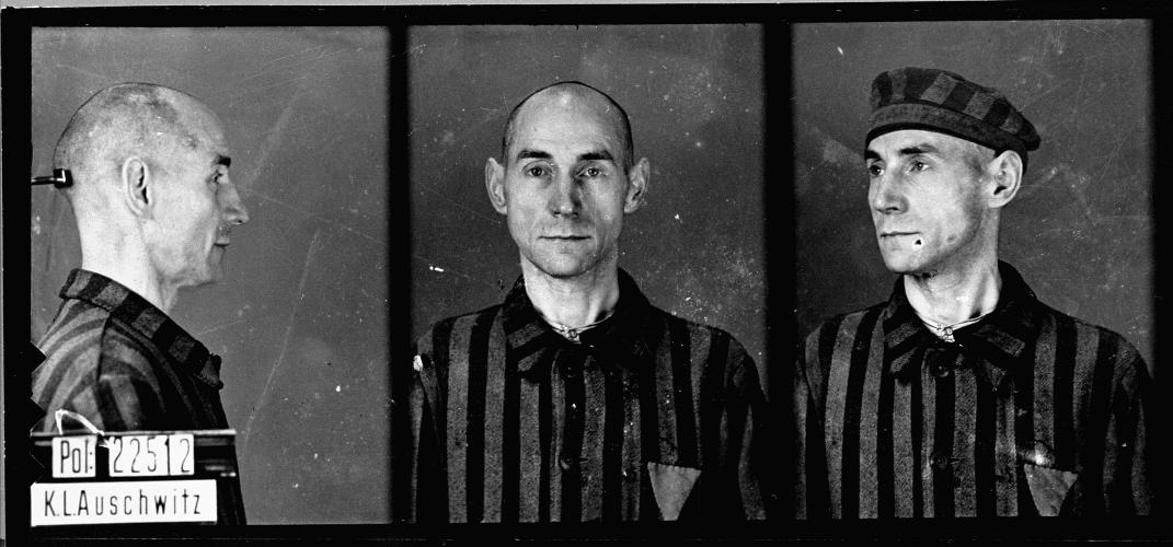 Mug shot of homosexual Auschwitz prisoner: August Pfeiffer, servant, born Aug. 8, 1895, in Weferlingen, arrived to Auschwitz Nov. 1, 1941, and died there Dec. 28, 1941.