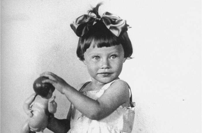 Portrait of two-year-old Mania Halef, a Jewish child, who was later killed during the mass execution at Babi Yar.