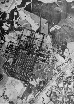 An aerial reconnaissance photograph of the Auschwitz concentration camp, showing Auschwitz II (Birkenau).