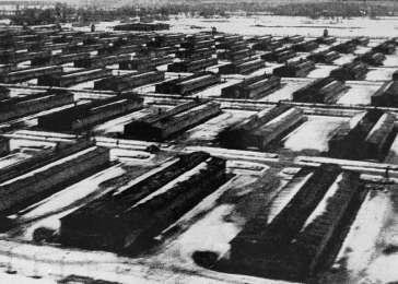 A view of the Auschwitz II camp, showing the camp barracks.