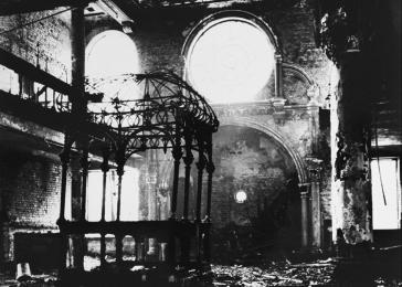 View of the interior of the Essenweinstrasse synagogue in Nuremberg following its destruction during Kristallnacht.