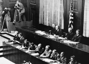 American judges (top row, seated) during the Doctors Trial. Presiding Judge Walter B. Beals is seated second from the left. The trial was held in Nuremberg, Germany, from December 9, 1946, to August 20, 1947.