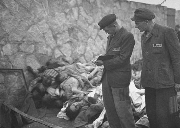Survivors count the corpses of prisoners killed in the Mauthausen concentration camp.